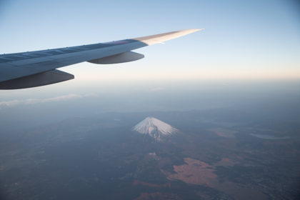 富士山上空にて
