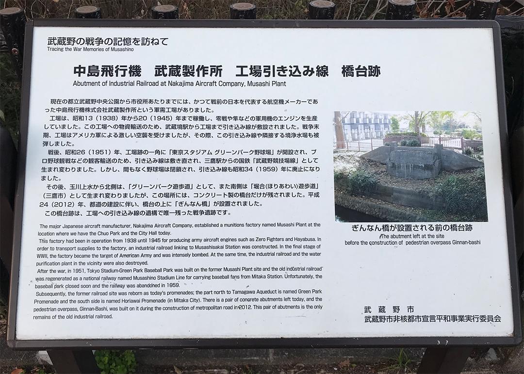 中島飛行機工場引き込み線跡