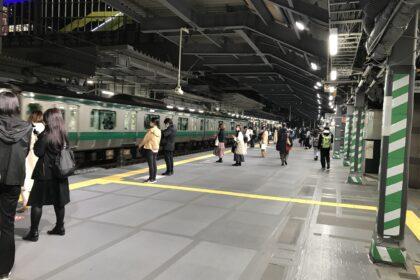 工事後の渋谷駅山手線内回りのホーム